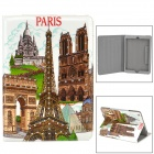 Famous Buildings Pattern PU Leather Case w/ Stand / Auto Sleep for Ipad AIR - White + Coffee