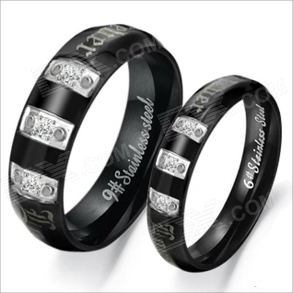 GJ303 Rhinestones 316L Stainless Steel Couple's Ring - Black + Silver (Size 9 + 7 / 2 PCS) ring to rule them all 316l stainless steel ring black size 11 5