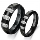 GJ303 Rhinestones 316L Stainless Steel Couple's Ring - Black + Silver (Size 9 + 7 / 2 PCS)