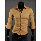 Stylish Men's Slim Fit Shirt -  Yellow (Size-L)