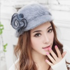 Fashionable Women's Rabbit Fur Hat - Grey