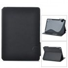 Stylish Protective PU Leather Case w/ Card Holder Slots for iPad Air - Black + Grey
