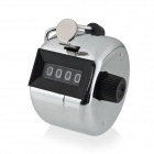 4-Digit Chrome Hand Tally Counter - Silver White + Black