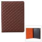 Checked Style Protective PU Leather + Plastic Case w/ Auto Sleep for iPad Air - Coffee