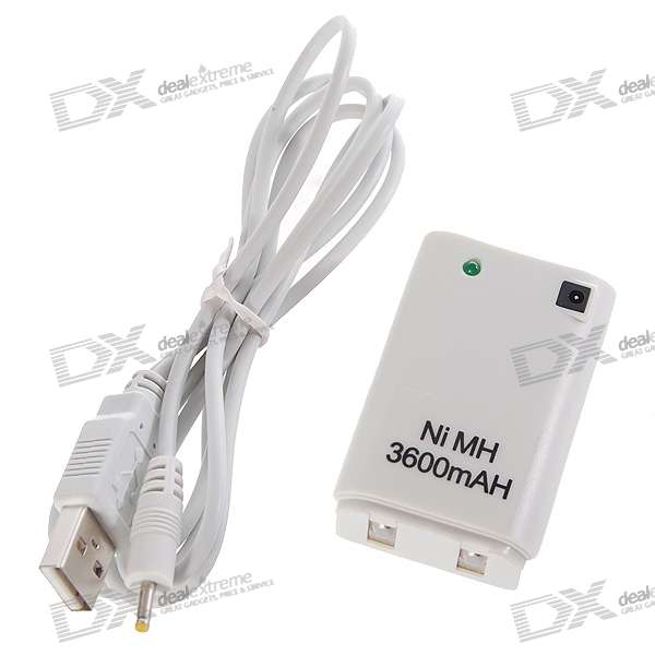 USB Rechargeable 3600mAh Battery with USB Charging Cable for Xbox 360 Controller