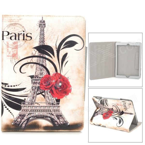 Eiffel Tower + Rose Pattern PU Leather Case w/ Stand / Auto Sleep for Ipad AIR - White + Grey stylish eiffel tower pattern pu leather flip open case w stand for ipad air grey white