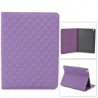 Grip Pattern Protective PU Leather + Plastic Case w/ Stand / Auto Sleep for Ipad AIR - Purple