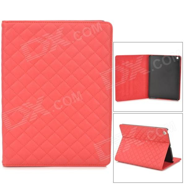 Grid Pattern Protective PU Leather + Plastic Case w/ Stand / Auto-sleep for Ipad AIR - Red grid pattern protective pu case w stand for iphone 6 4 7 red white