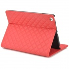 Grid Pattern Protective PU Leather + Plastic Case w/ Stand / Auto-sleep for Ipad AIR - Red