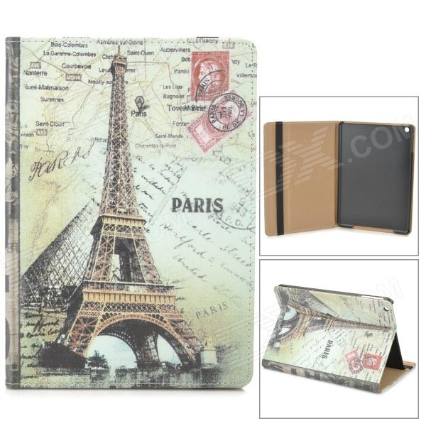 Eiffel Tower Pattern Protective PU + PC Case w/ Stand / Auto-sleep for Ipad AIR - Grey + Black london eye pattern protective pu pc case w stand auto sleep for ipad air black grey