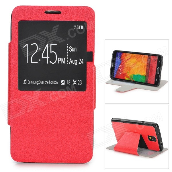 Silk Pattern Protective PU Leather Case w/ Stand / Open Window for Samsung Note 3 / N9000 - Red silk pattern protective pu leather case w stand open window for samsung note 3 n9000 red