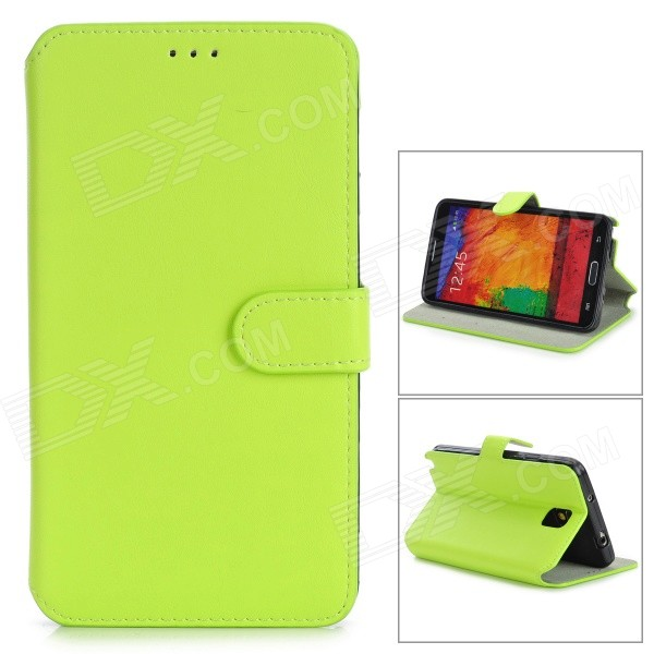 Protective PU Leather Flip-Open Case w/ Stand for Samsung Note 3 / N9000 - Fluorescent Yellow protective pu leather flip open case w stand for samsung note 3 n9000 deep pink light green