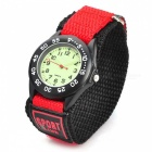 Sports Zinc Alloy Case Nylon Velcro Band Quartz Analog Wrist Watch for Kids - Red + Black