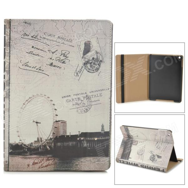 PC Case London Eye Pattern Protective PU + w / Stand / Auto sono para Ipad AIR - preto + cinza