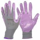 Galilee pncg 100191 Protective Nylon + Rubber Gardening Gloves - Deep Purple + Grey (Pair)