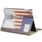 Statue of Liberty Pattern Protective PU + PC Case w/ Stand / Auto-sleep for Ipad AIR - Red + Blue