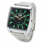 Fashion Square Shape Dial Glow-in-the Dark Quartz Wrist Watch - Black + Silver (1 x SR626)