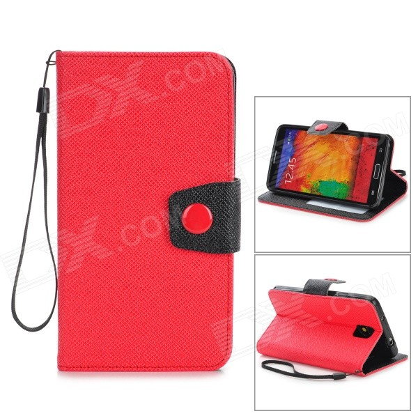 Protective PU Leather Flip-Open Case w/ Stand / Strap for Samsung Note 3 / N9000 - Red + Black protective flip open pu case w stand card slots strap for samsung galaxy note 3 n9000 white