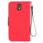 Protective PU Leather Flip-Open Case w/ Stand / Strap for Samsung Note 3 / N9000 - Red + Black