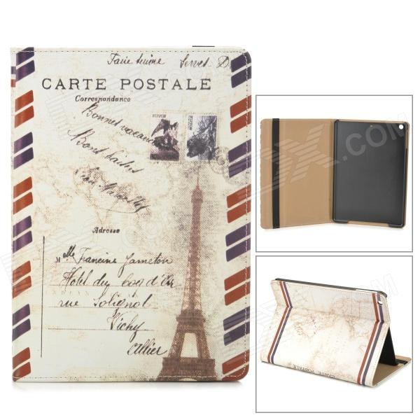 Envelop + Eiffel Tower Pattern PU + PC Case w/ Stand / Auto Sleep for Ipad AIR - Red + White