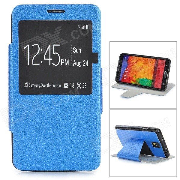 Silk Pattern Protective PU Leather Case w/ Stand / Window for Samsung Note 3 / N9000 - Blue silk pattern protective pu leather case w stand open window for samsung note 3 n9000 red