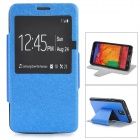 Silk Pattern Protective PU Leather Case w/ Stand / Window for Samsung Note 3 / N9000 - Blue