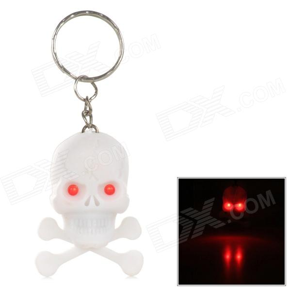 PZCD PZ-16 Skull Style Creative 2-LED Mini Red Flashlight Keychain - White (2 x AG3 included) sport car style 2 led white light flashlight keychain w sound effect red 4 x lr41