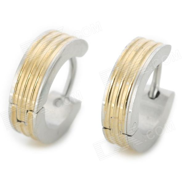 SHIYING BN414E689B Punk Style Stainless Steel Ear Stud for Men - Silver + Golden shiying men s fashion 316l stainless steel split leather bracelet black silver