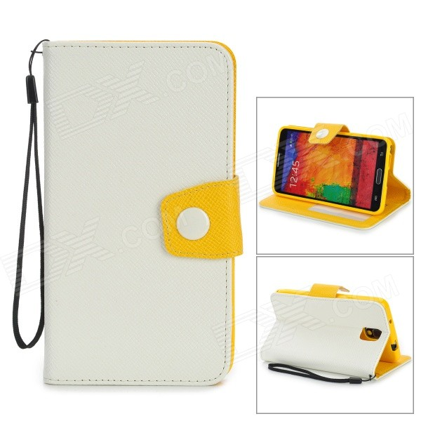 Protective PU Leather Flip-Open Case w/ Stand / Strap for Samsung Note 3 / N9000 - White + Yellow protective pu leather flip open case w stand for samsung note 3 n9000 deep pink light green