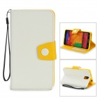 Protective PU Leather Flip-Open Case w/ Stand / Strap for Samsung Note 3 / N9000 - White + Yellow