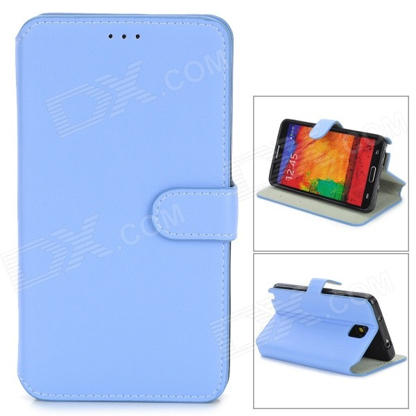 Protective PU Leather Flip-Open Case w/ Stand for Samsung Note 3 / N9000 - Light Blue protective pu leather flip open case w stand for samsung note 3 n9000 deep pink light green
