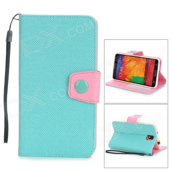 Protective PU Leather Flip-Open Case w/ Stand for Samsung Note 3 / N9000 - Light Green + Pink protective pu leather flip open case w stand for samsung note 3 n9000 deep pink light green