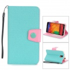 Protective PU Leather Flip-Open Case w/ Stand for Samsung Note 3 / N9000 - Light Green + Pink