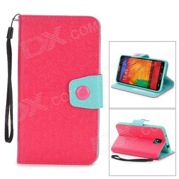 Protective PU Leather Flip-Open Case w/ Stand for Samsung Note 3 / N9000 - Deep Pink + Light Green protective pu leather flip open case w stand for samsung note 3 n9000 deep pink light green