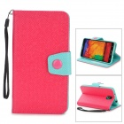 Protective PU Leather Flip-Open Case w/ Stand for Samsung Note 3 / N9000 - Deep Pink + Light Green