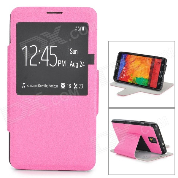 Silk Pattern Protective PU Leather Case w/ Stand / Window for Samsung Note 3 / N9000 - Deep Pink protective pu leather flip open case w stand for samsung note 3 n9000 deep pink light green