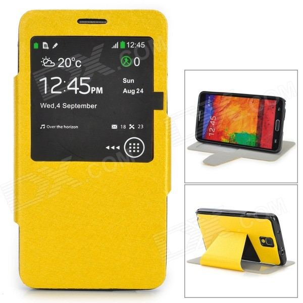 Silk Pattern Protective PU Leather Case w/ Stand / Window for Samsung Note 3 / N9000 - Yellow silk pattern protective pu leather case w stand open window for samsung note 3 n9000 red