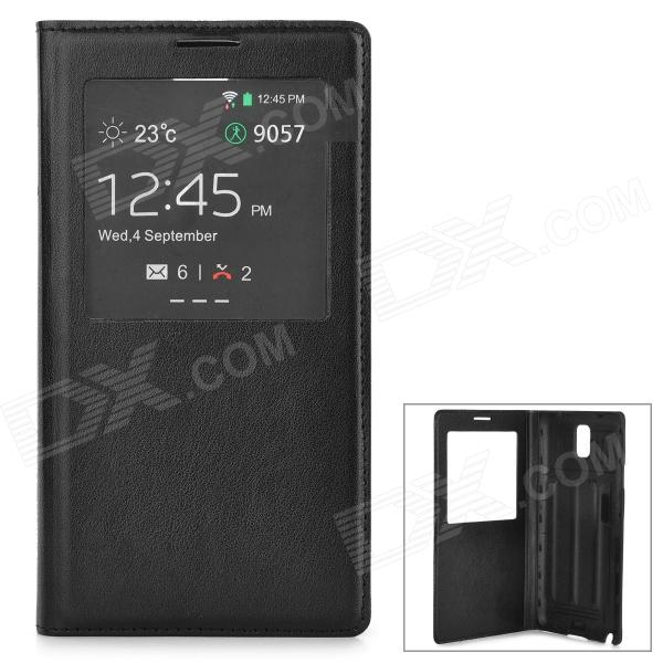 Protective Split Leather + Plastic Case for Samsung Galaxy Note 3 / N9006 + More - Black protect artificial leather wallet case w plastic holder for samsung galaxy note i9220 black
