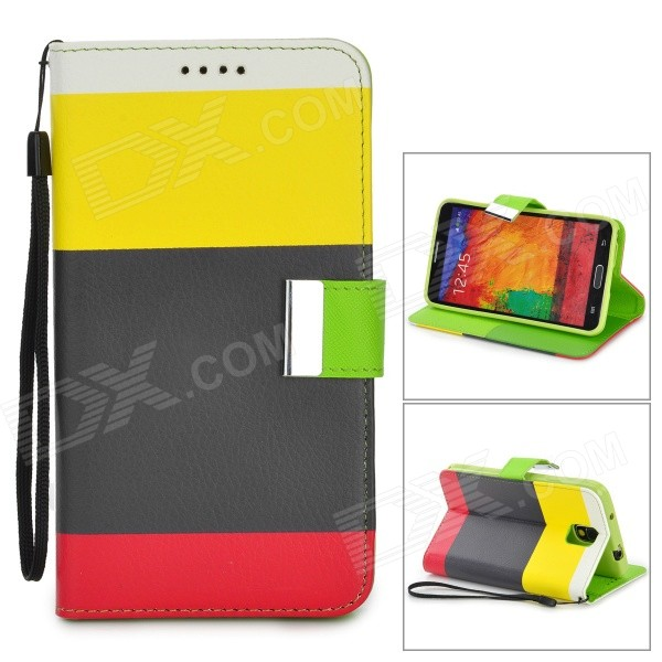 Protective PU Leather Case w/ Stand for Samsung Note 3 / N9000 - Black + Yellow + Red + Multicolored protective pu leather case w stand for tablets within 9 black