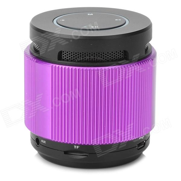 DG808 Mini Bluetooth V2.1 Speaker w/ TF Slot / FM Radio / Mic - Purple + Black mini cylinder shaped bluetooth v2 0 speaker w fm tf mini usb usb blue black transparent