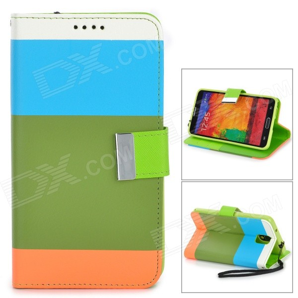 Protective PU Leather Case w/ Stand for Samsung Note 3 / N9000 - Army Green + Multicolored + Orange protective pu leather flip open case w stand for samsung note 3 n9000 deep pink light green