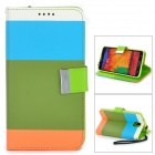 Protective PU Leather Case w/ Stand for Samsung Note 3 / N9000 - Army Green + Multicolored + Orange