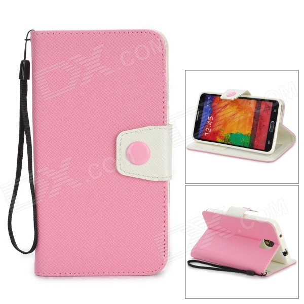 Protective PU Leather Flip-Open Case w/ Stand for Samsung Note 3 / N9000 - Light Pink + White protective pu leather flip open case w stand for samsung note 3 n9000 deep pink light green