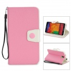 Protective PU Leather Flip-Open Case w/ Stand for Samsung Note 3 / N9000 - Light Pink + White