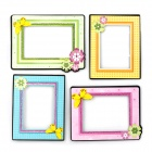 1007 Cute Photo Frame Living Room Bedroom Decorative Wall Stickers - Pink + Yellow + Multicolored