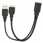 012 USB 3.0 / Micro USB 3.0 9pin OTG Charging / Data Cable for Samsung Note 3 - Black (20cm)