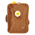 Cute Cartoon Style Flannel Electric Hands Warmer Water Bag - Dark Brown + White