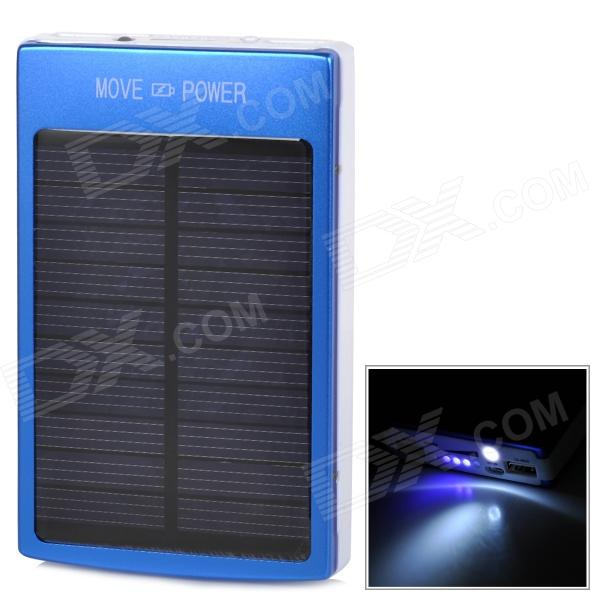 Universal Solar Dual USB ''30000mAh'' Portable Power Bank w/ LED Indicator / Flashlight - Blue (5V) mp 4s universal portable 3500mah power bank 1w white light usb led lamp head blue
