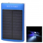 Universal Solar Dual USB ''30000mAh'' Portable Power Bank w/ LED Indicator / Flashlight - Blue (5V)