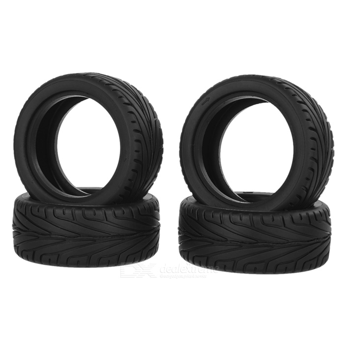 8010 DIY Replacement Plastic Wheel Tire for 1:10 Model Car Toy - Off-white + Black (4 PCS) 1 10 rubber on road racing car model replacement tire black 4 pcs